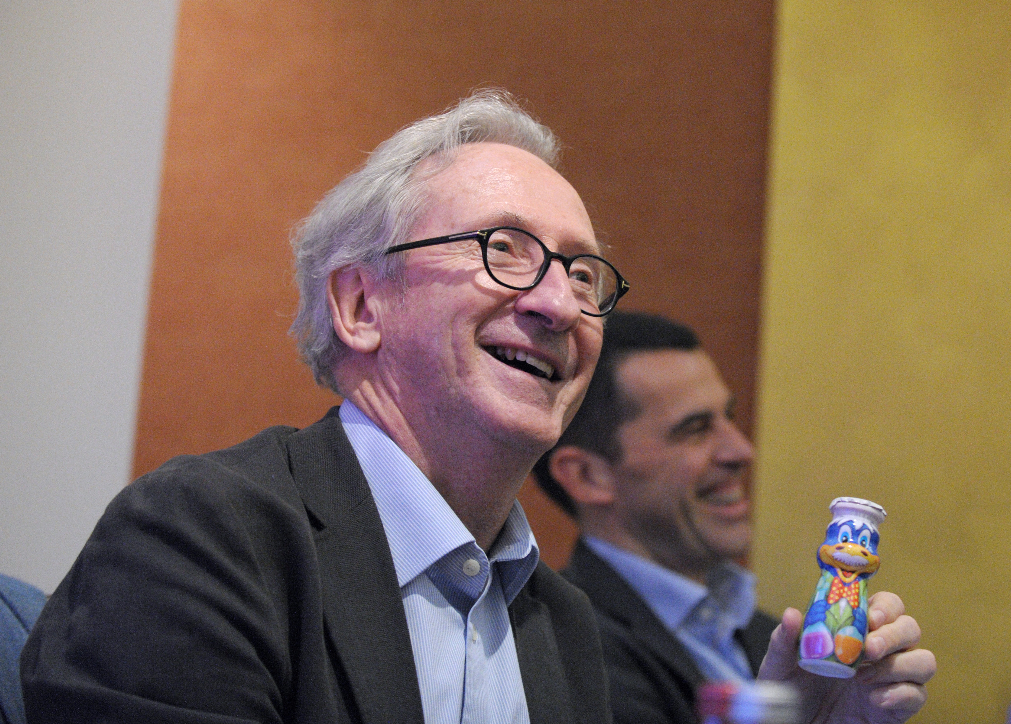 FRANCE, Paris : French dairy food giant Danone Chairman Franck Riboud smiles during a press conference to present the group's 2013 results in Paris on February 20, 2014.
