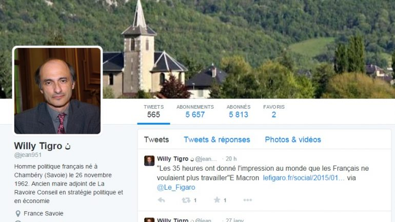 Le profil de Willy Tigro utilise la photo d'Etienne Tête