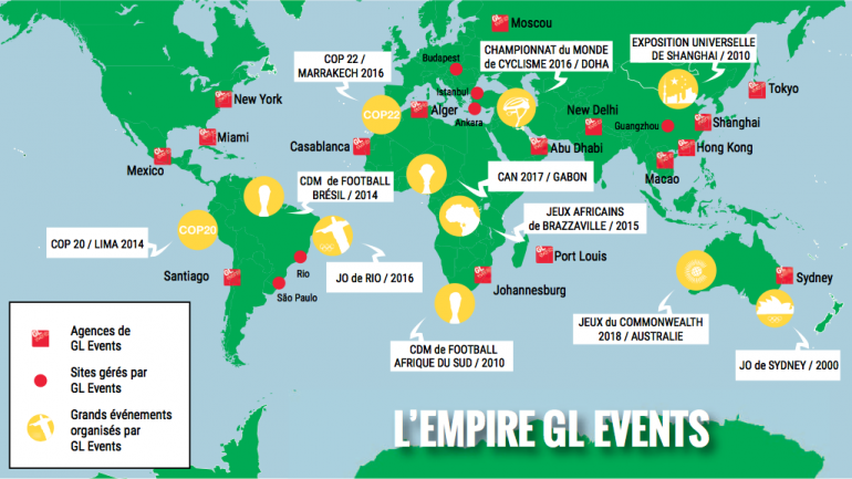 Carte des implantations de GL Events dans le monde © Valentin Girardon pour Lyon Capitale